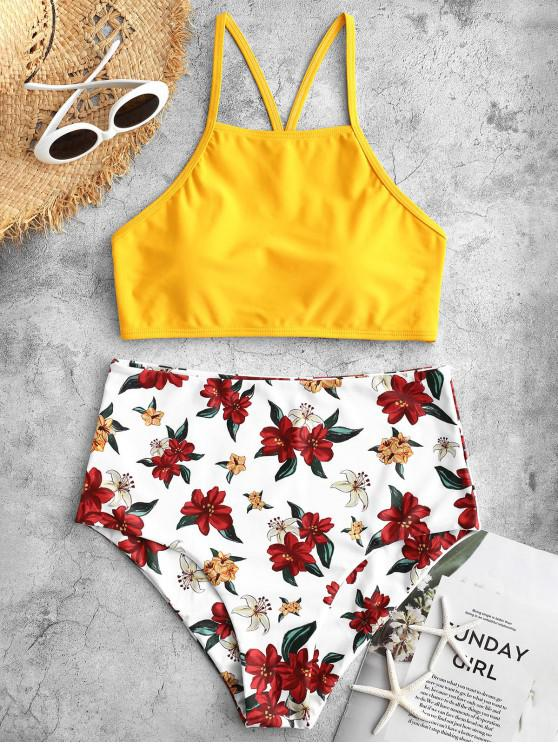 buy ZAFUL Flower Criss Cross High Waisted Tankini Swimsuit - MULTI-A M