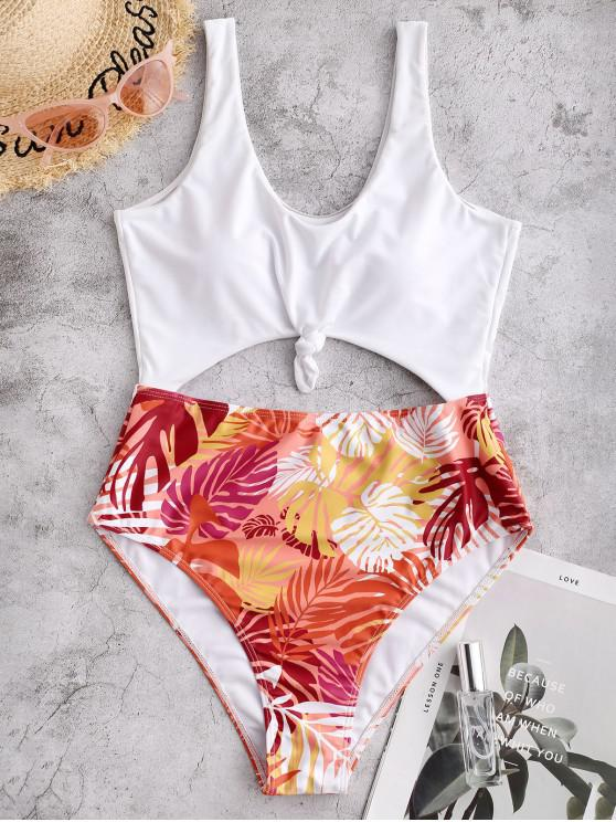 shop ZAFUL Leaf Print Cutout Knotted One-piece Swimsuit - MULTI-A XL