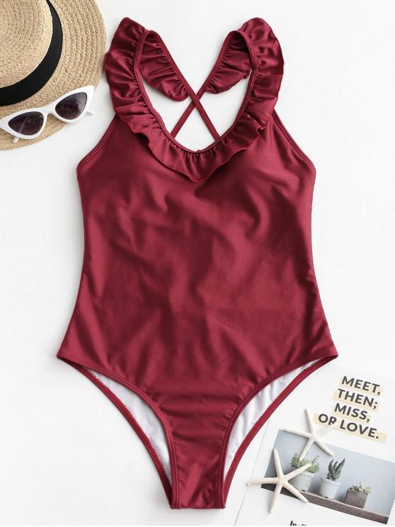 chic ZAFUL Ruffle Lustrous Crisscross One-piece Swimsuit - RED WINE S