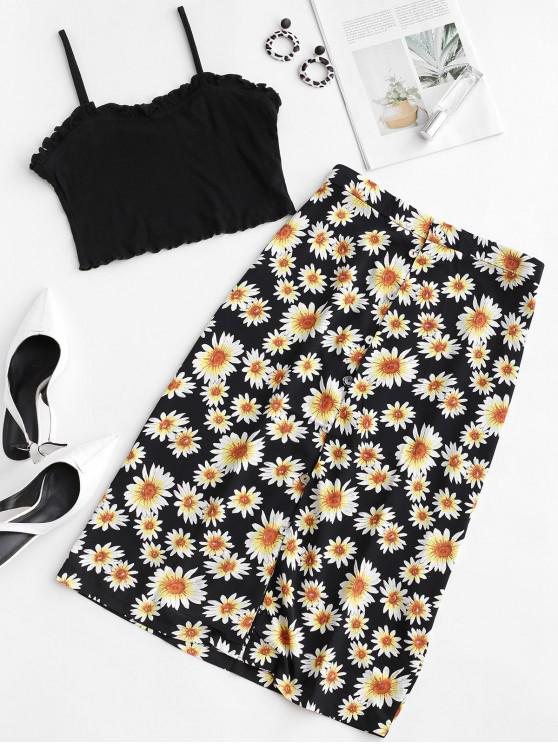 outfits Ruffles Flower Print Cami Two Pieces Suit - MULTI-A M