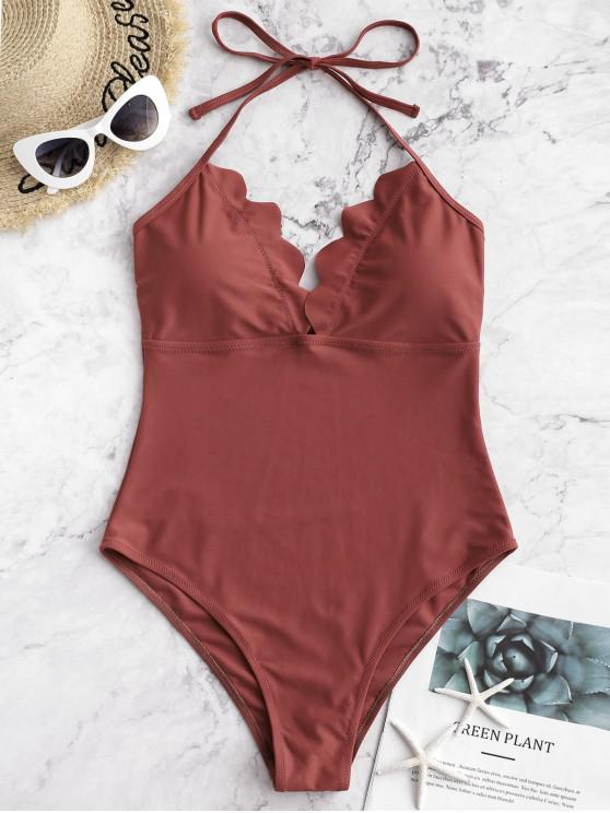new ZAFUL Scalloped Halter One-piece Swimsuit - CHESTNUT XL