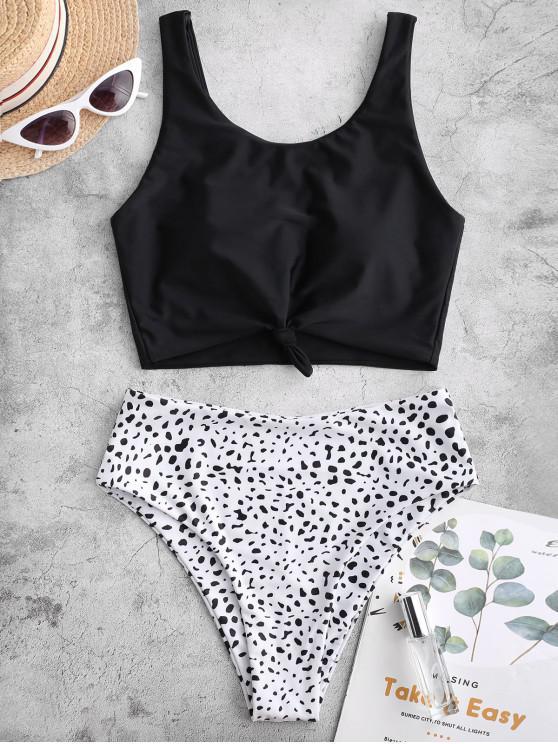shop ZAFUL Knot Dalmatian Print Tankini Swimsuit - BLACK 2XL