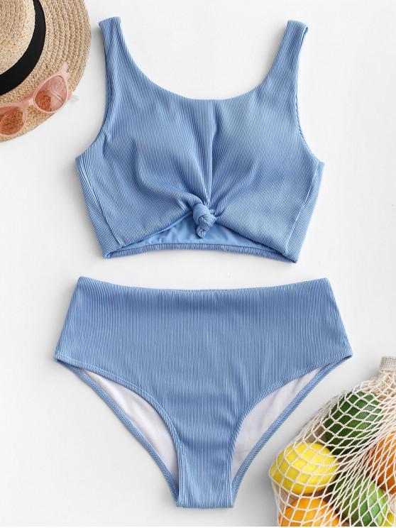 womens ZAFUL Knot Textured Ribbed Tankini Swimsuit - LIGHT SKY BLUE L