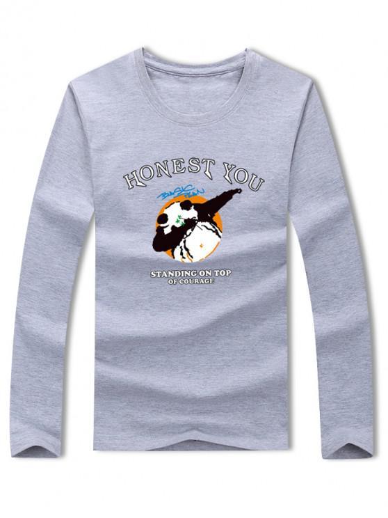 sale Panda Honest You Letter Graphic Print Long Sleeve T-shirt - GRAY S