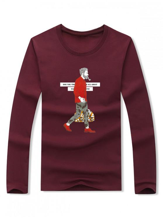 fancy Smoking Man Letter Graphic Print Long Sleeve T-shirt - RED WINE XL