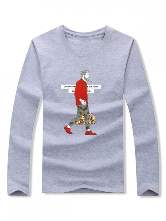 latest Smoking Man Letter Graphic Print Long Sleeve T-shirt - GRAY S