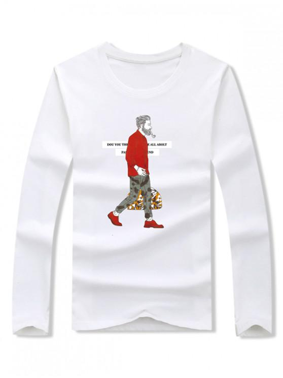trendy Smoking Man Letter Graphic Print Long Sleeve T-shirt - WHITE M