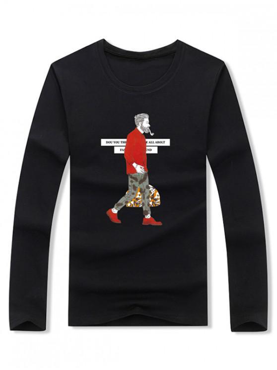 Carta de homem de fumar gráfico impressão manga comprida t-shirt - Preto M