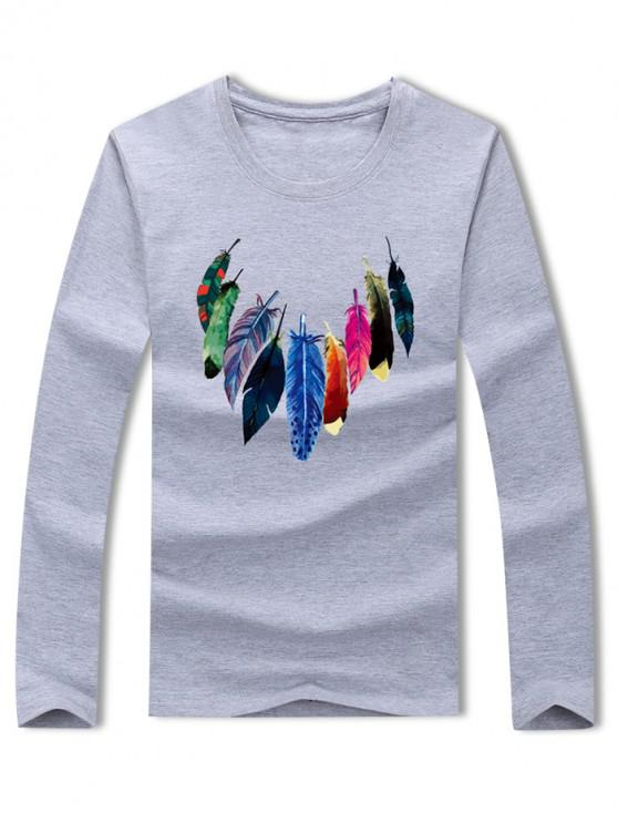 outfit Colored Feather Print Long Sleeve Casual T-shirt - GRAY XL
