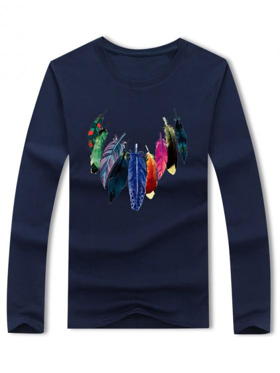 online Colored Feather Print Long Sleeve Casual T-shirt - CADETBLUE S