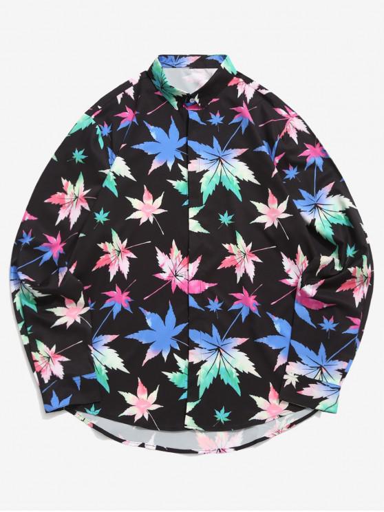 Camisa casual asimétrica con estampado de hojas de arce de color - Negro XL