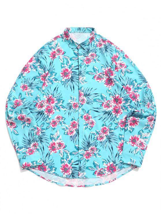 affordable Tropical Flower Print Vacation Casual Shirt - MACAW BLUE GREEN 2XL