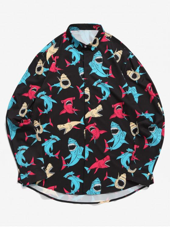 fancy Colored Shark Allover Print Long Sleeve Casual Shirt - BLACK 2XL