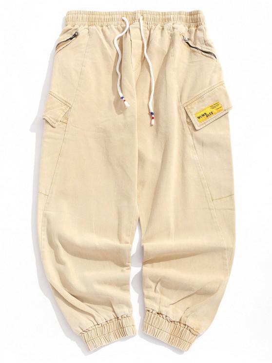 Pantalones de chándal ocasionales con bolsillo de solapa y apliques sólidos - Melocotón L