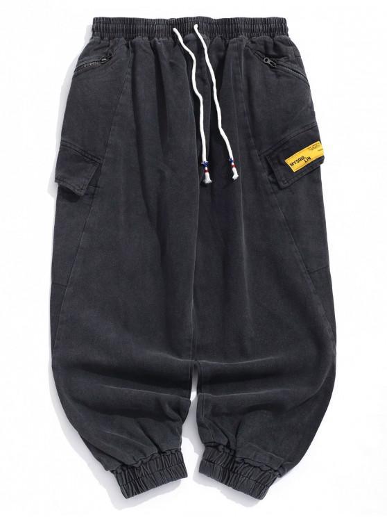best Solid Applique Flap Pocket Casual Jogger Pants - JET GRAY S