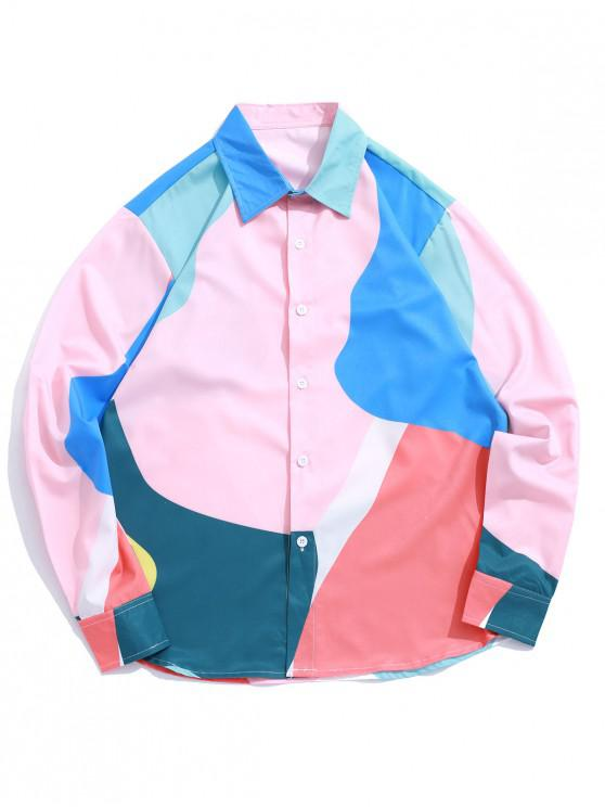 best Long Sleeve Color Block Spliced Button Shirt - MULTI M