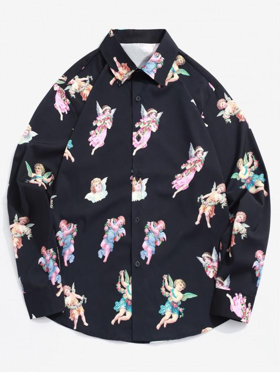 chic Paradise Floral Angel Print Long Sleeve Button Shirt - BLACK M