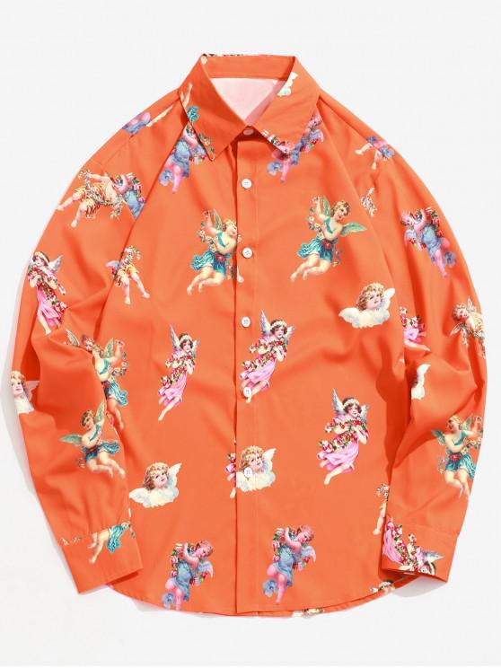 women's Paradise Floral Angel Print Long Sleeve Button Shirt - PUMPKIN ORANGE S