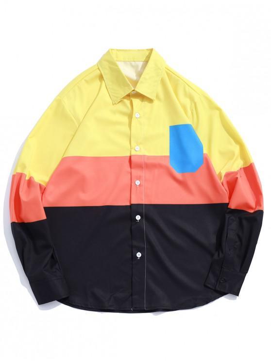 fancy Faux Chest Pocker Color Block Panel Shirt - MULTI S