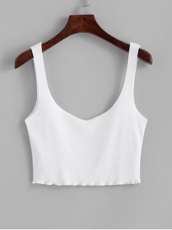 outfit ZAFUL Plain Cropped Ribbed Tank Top - WHITE L