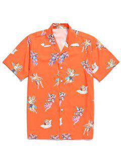 Paradise Floral Angel Print Beach Shirt - Pumpkin Orange Xl