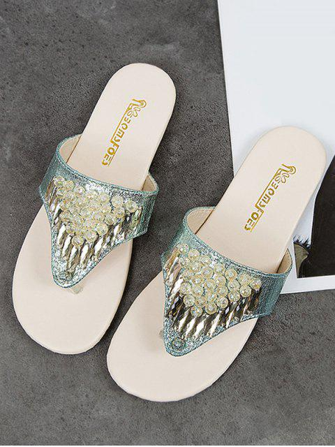 outfit Rhinestone Flat Beach Flip Flops - LIGHT AQUAMARINE EU 40 Mobile