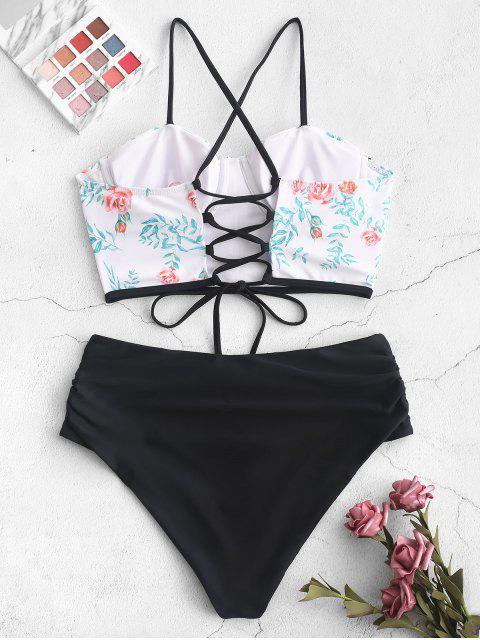 womens ZAFUL Flower Leaf Print Push Up Tummy Control Tankini Swimsuit - MULTI-A L Mobile