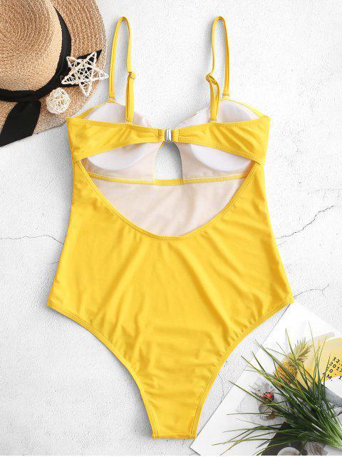 Traje de baño de una sola pieza con nudo alto con abertura en las piernas anudadas - Amarillo Brillante S Mobile