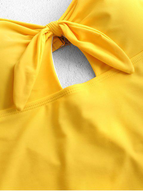 ZAFUL Слитный Купальник С бантом Высокие ноги С вырезом - Ярко-желтый M Mobile