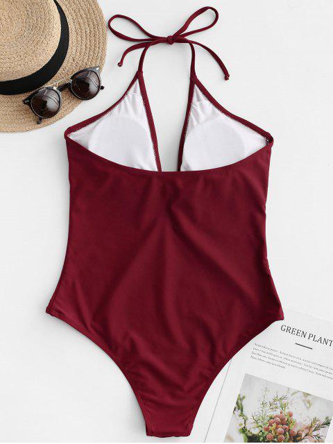 women's ZAFUL Halter Knotted Keyhole High Cut Backless Swimsuit - RED WINE M Mobile