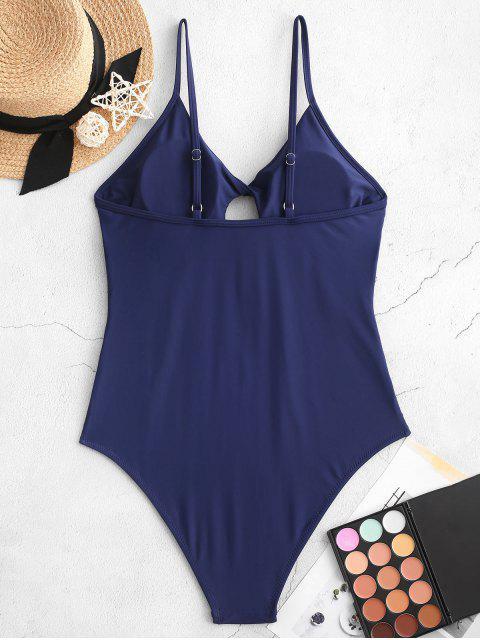 ZAFUL高幫扭紋皺摺連體泳衣 - 深藍 L Mobile