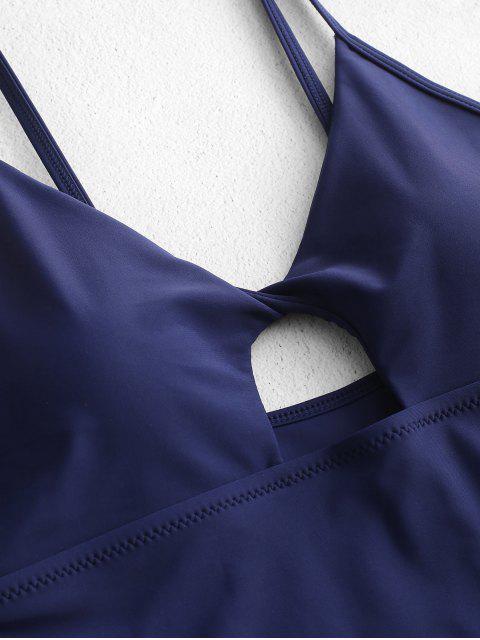 women ZAFUL High Cut Twist Ruched One-piece Swimsuit - DEEP BLUE L Mobile