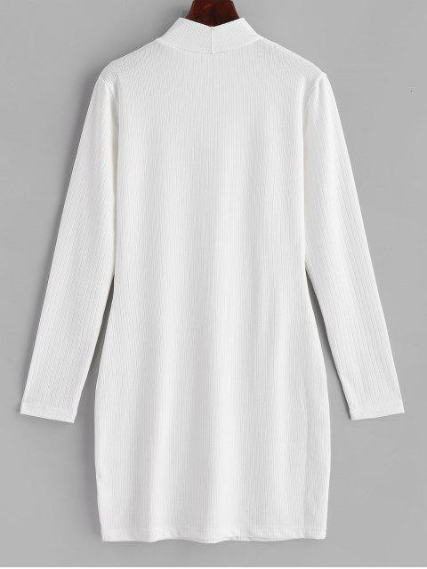 ZAFUL Mini-Robe Moulante Côtelée à Manches Longues - Blanc XL Mobile