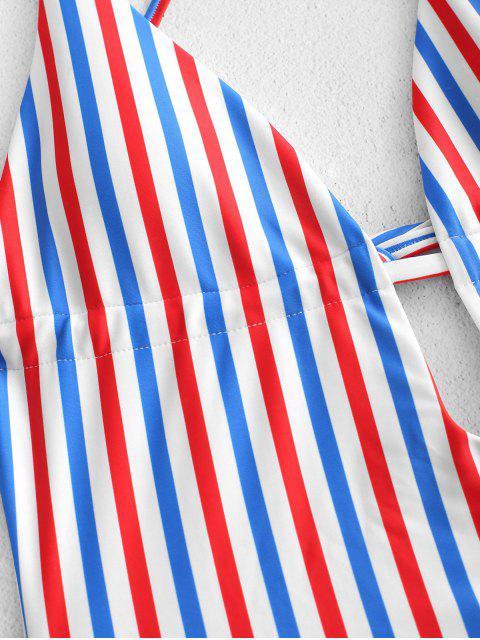 ZAFUL Красочный полосатый принт С открытой спиной Слитный Купальник - Многоцветный-A S Mobile