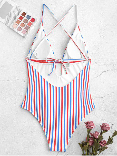 lady ZAFUL Colorful Stripes Backless One-piece Swimsuit - MULTI-A M Mobile
