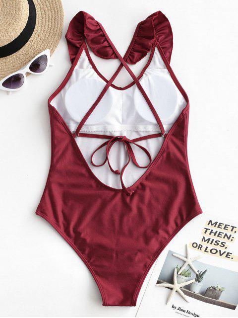 women's ZAFUL Ruffle Lustrous Crisscross One-piece Swimsuit - RED WINE M Mobile