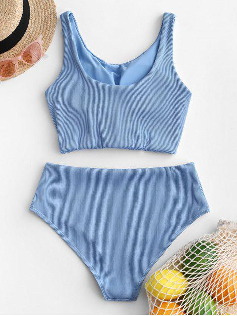 buy ZAFUL Knot Textured Ribbed Tankini Swimsuit - LIGHT SKY BLUE M Mobile