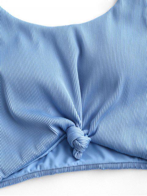 ZAFUL Tankini de Cintura Alta con Nudo y Textura - Celeste Ligero 2XL Mobile