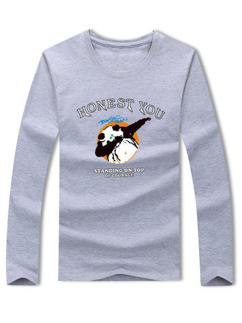 Panda Honest You Letter camiseta estampada con manga larga - Gris L Mobile
