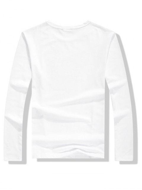 Panda Honest You Letter camiseta estampada con manga larga - Blanco XL Mobile