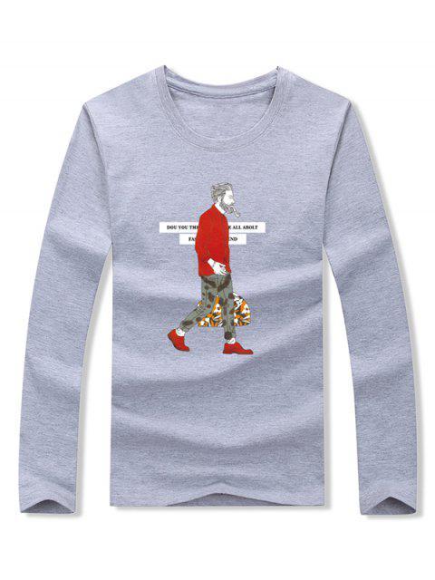Smoking Man Letter Camiseta de manga larga con estampado gráfico - Gris S Mobile