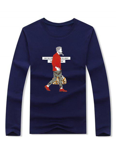 Smoking Man Letter Camiseta de manga larga con estampado gráfico - Cadetblue XL Mobile