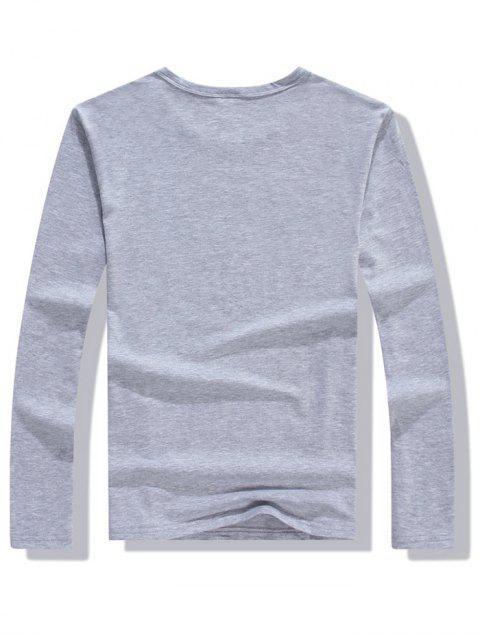 Camiseta informal de manga larga con estampado de plumas de colores - Gris M Mobile
