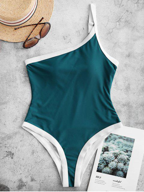 shop ZAFUL Ribbed Trim One Shoulder One-piece Swimsuit - PEACOCK BLUE S Mobile