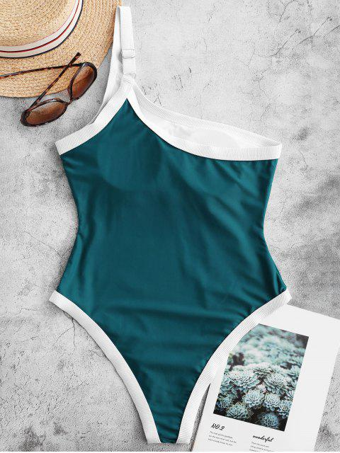 unique ZAFUL Ribbed Trim One Shoulder One-piece Swimsuit - PEACOCK BLUE L Mobile
