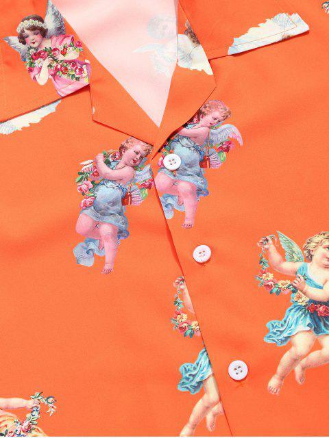 outfits Paradise Floral Angel Print Beach Shirt - PUMPKIN ORANGE 2XL Mobile