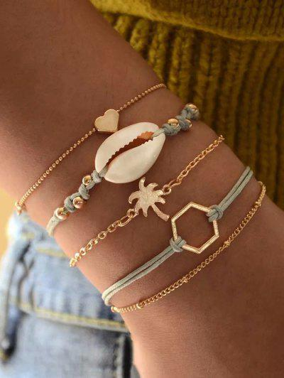 5Pcs Cowrie Shell Palm Tree Bracelet Set - Gold