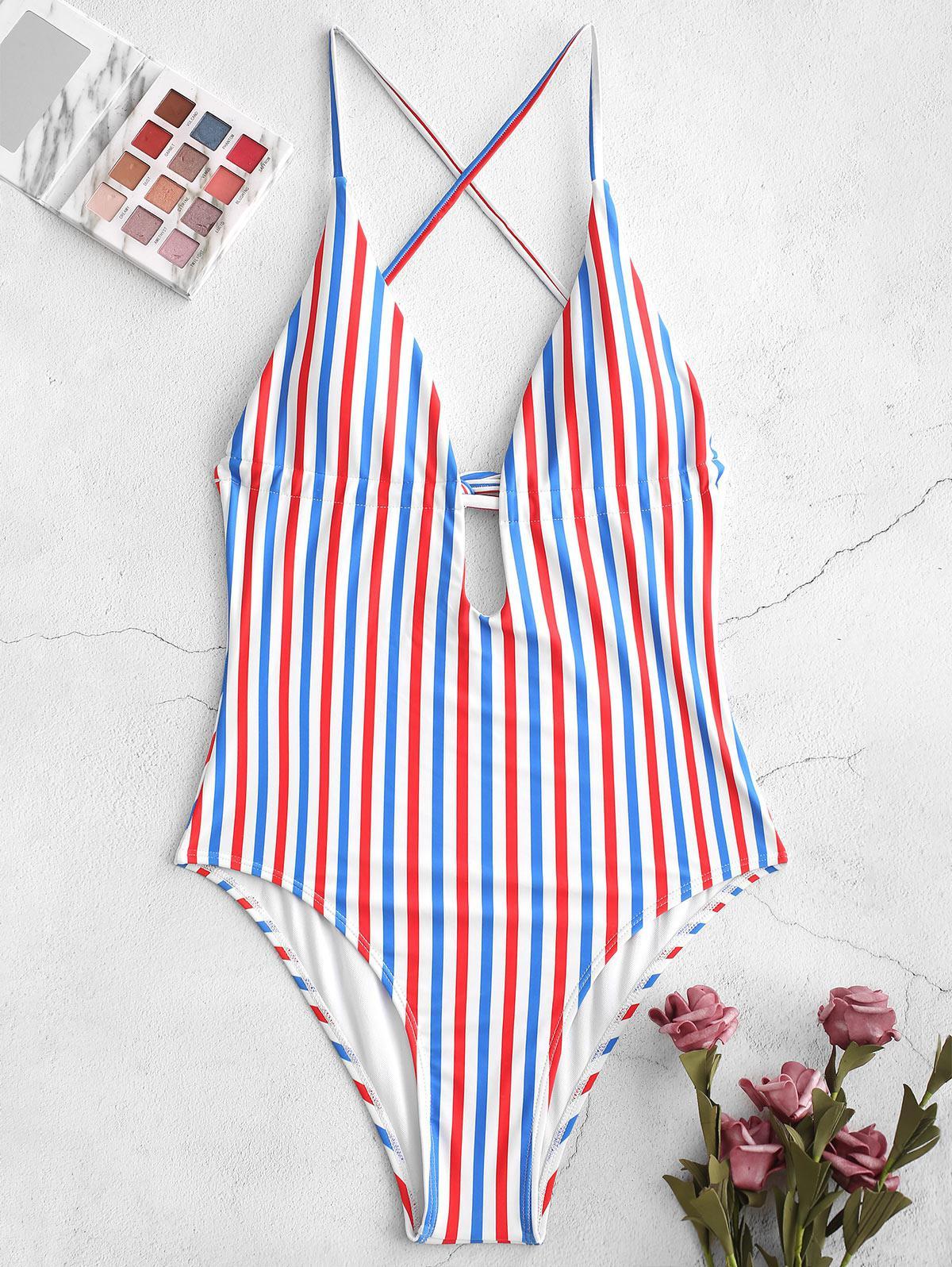 ZAFUL Strisce Colorate Backless in Un unico pezzo Costume da bagno