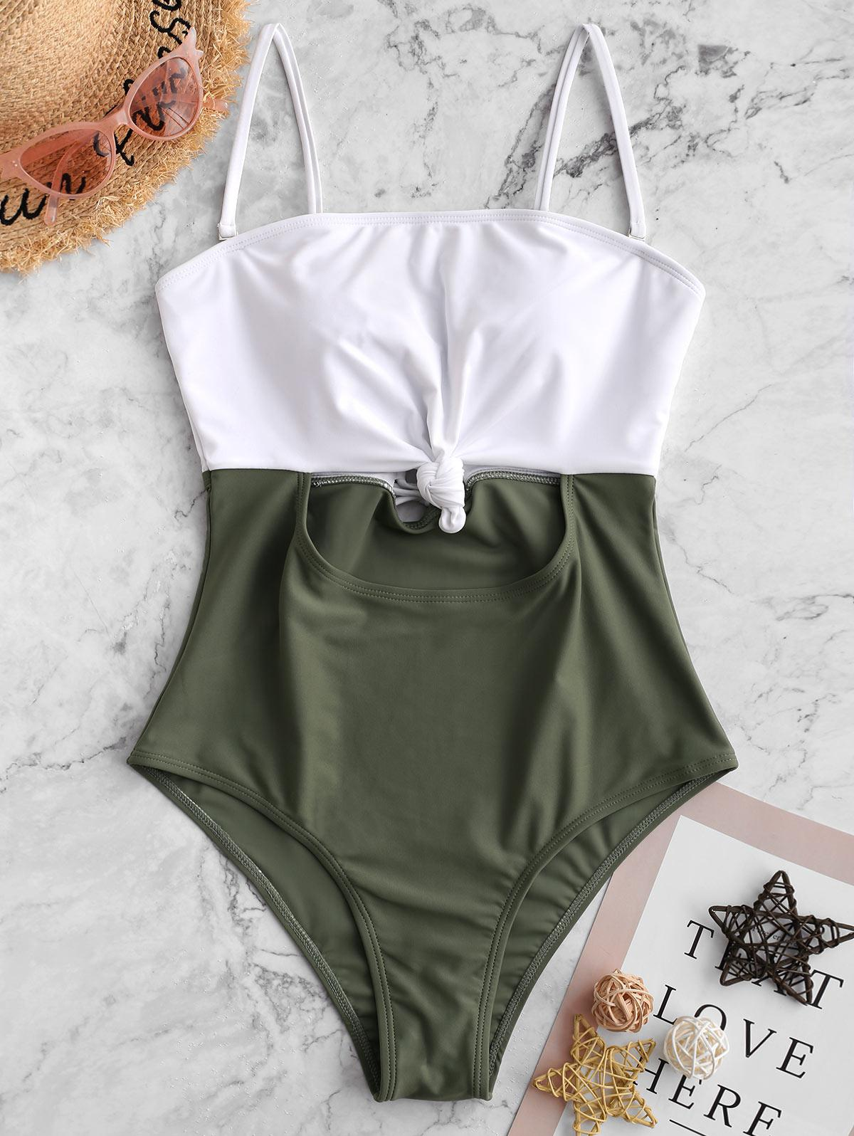 ZAFUL Color Block Knotted Lace Up One-piece Swimsuit, Camouflage green