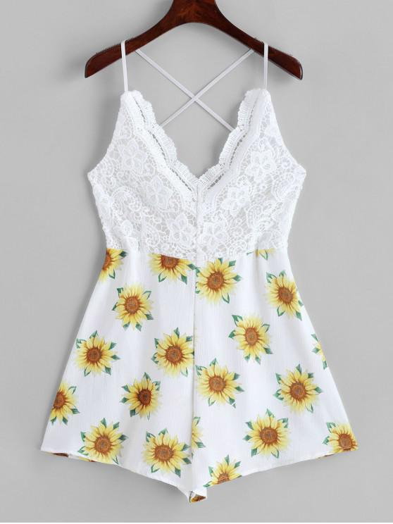 womens Lace Panel Criss Cross Sunflower Cami Romper - WHITE M